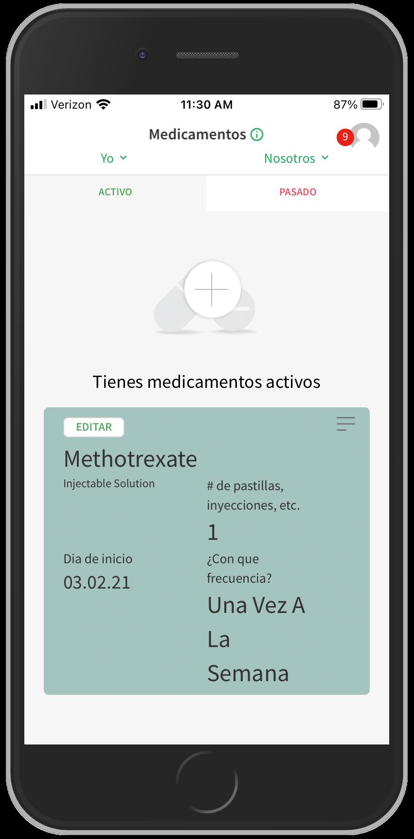 Screenshot of app showing medication entry screen